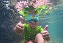 Erik snorkeling at The Baths