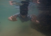 Liam snorkeling at The Baths