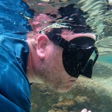 John snorkeling at The Baths