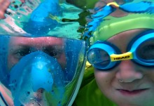 Erik and I snorkeling at The Baths