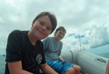 Liam and Glen in the dinghy