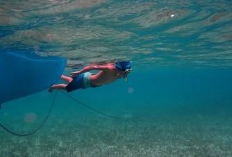 Erik enjoying the clear water