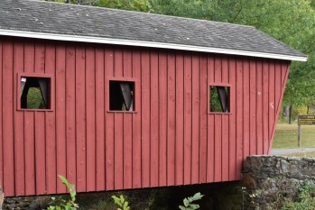Covered bridge as you enter the park