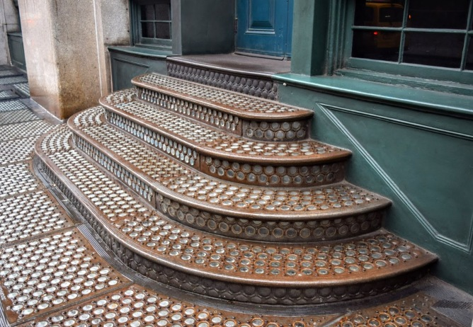 Glass stairs on a NYC street