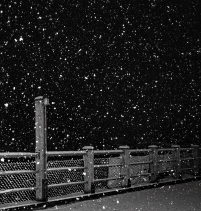 Snowfall on the dock